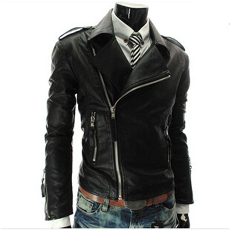 Black White Red Leather Jacket Men Motorcycle Pu Side Zipper ...