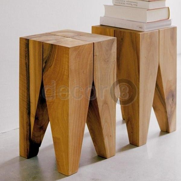Decor8 Modern Furniture Solid Wood Multi Purpose Stool And Side Table  Natural Wood