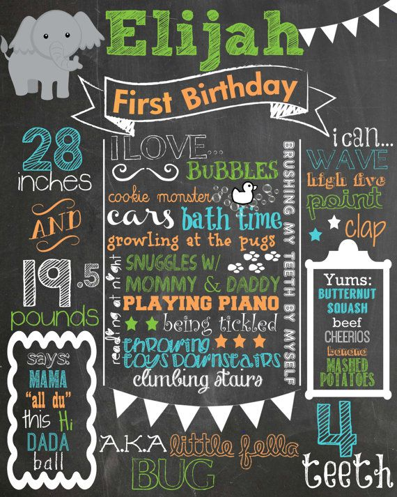 Elephants Birthday Chalkboard Poster Photo Prop