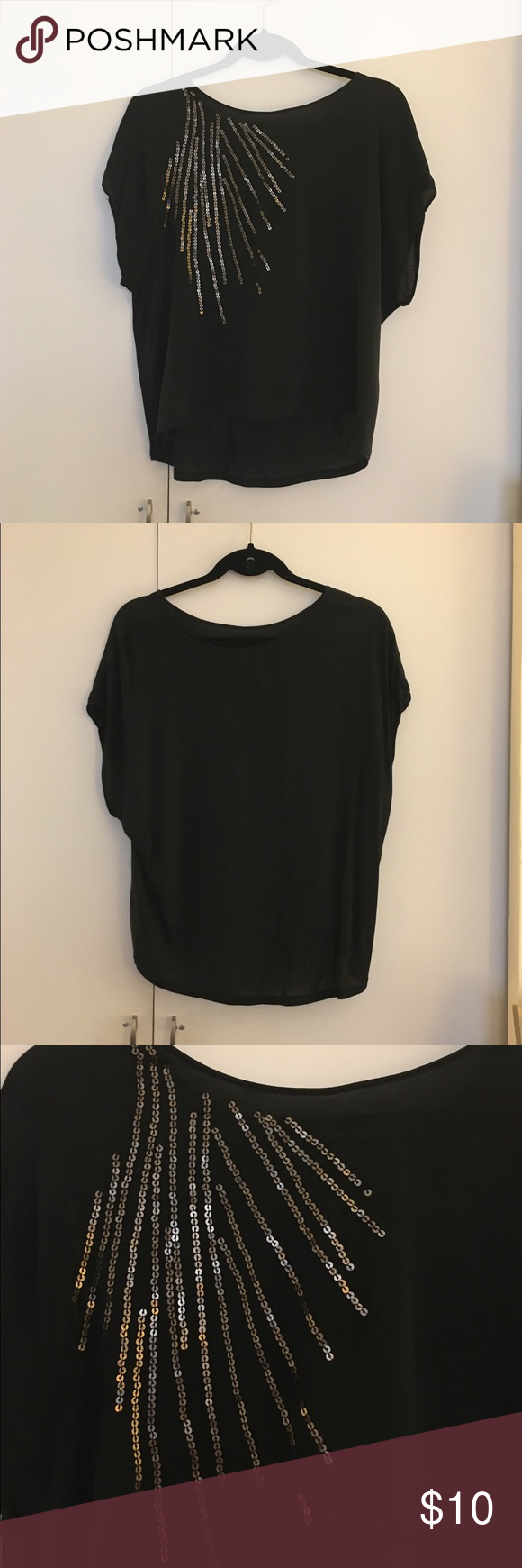 Black shirt with gold sequins sequins short sleeves and silk