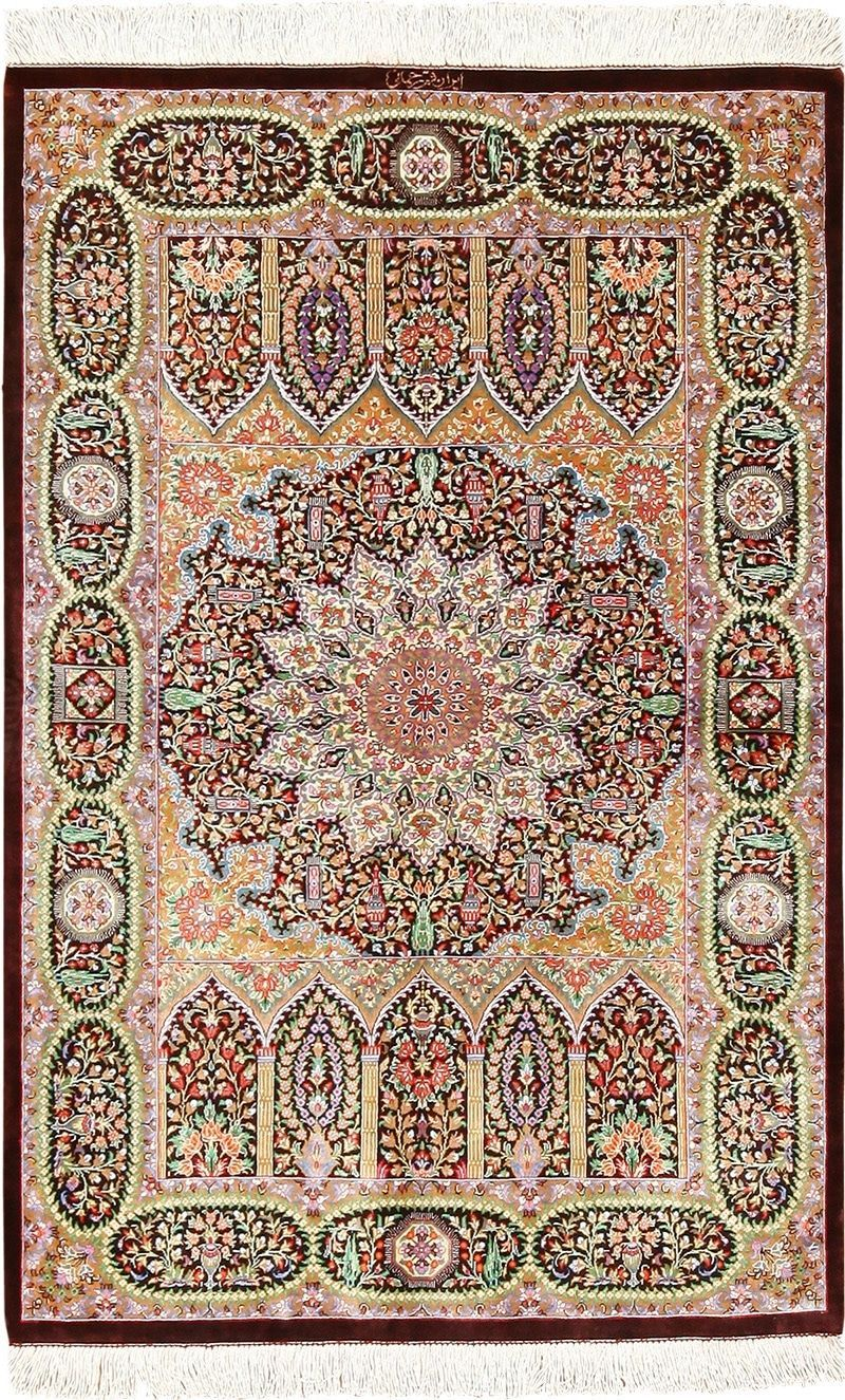 Small Scatter Size Silk Persian Qum Rug 49409 Tappeti
