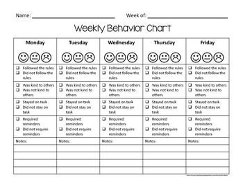 Weekly Behavior Charts and Tally Sheets for Children | Children ...