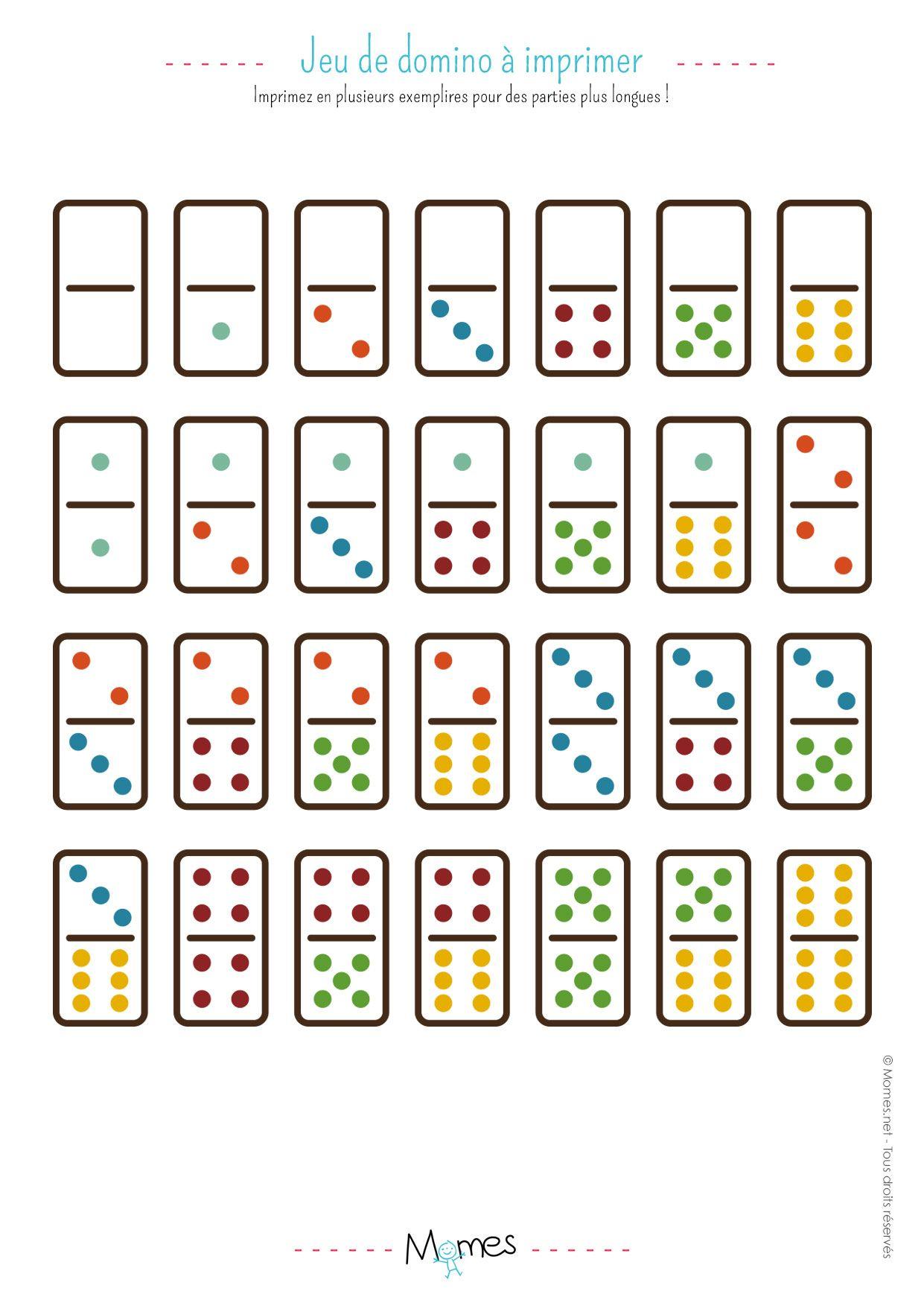 Jeu de Dominos à imprimer | Jeux a imprimer, Jeux et Jeu du loto