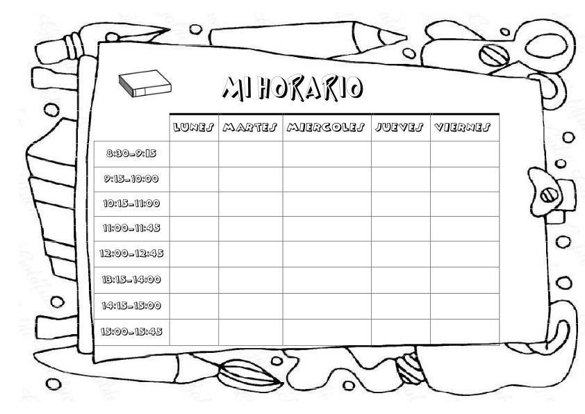 Horario escolar para colorear | Horario escolar, Horario, Escolares