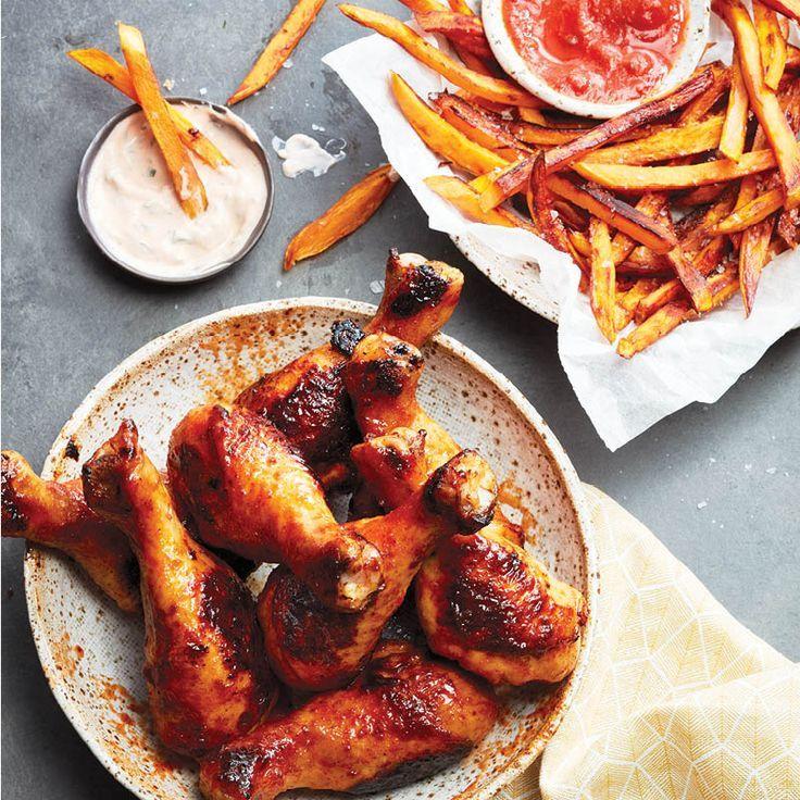 Sheet pan sriracha drumsticks and sweet potato fries - Chatelaine - food -