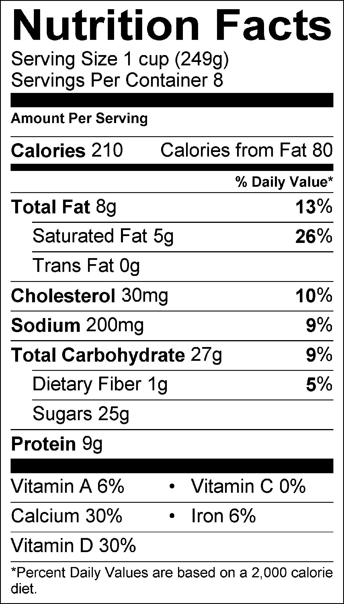 Nutrition facts label for Starbucks beverage: Tazo® Chai Eggnog ...