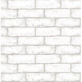 Peel And Stick 3d Wall Panels Pe Foam White Brick Wallpaper Set Of 8 46 Sq Ft Walmart Com White Brick Wallpaper Brick Pattern Wallpaper Peel And Stick Wallpaper