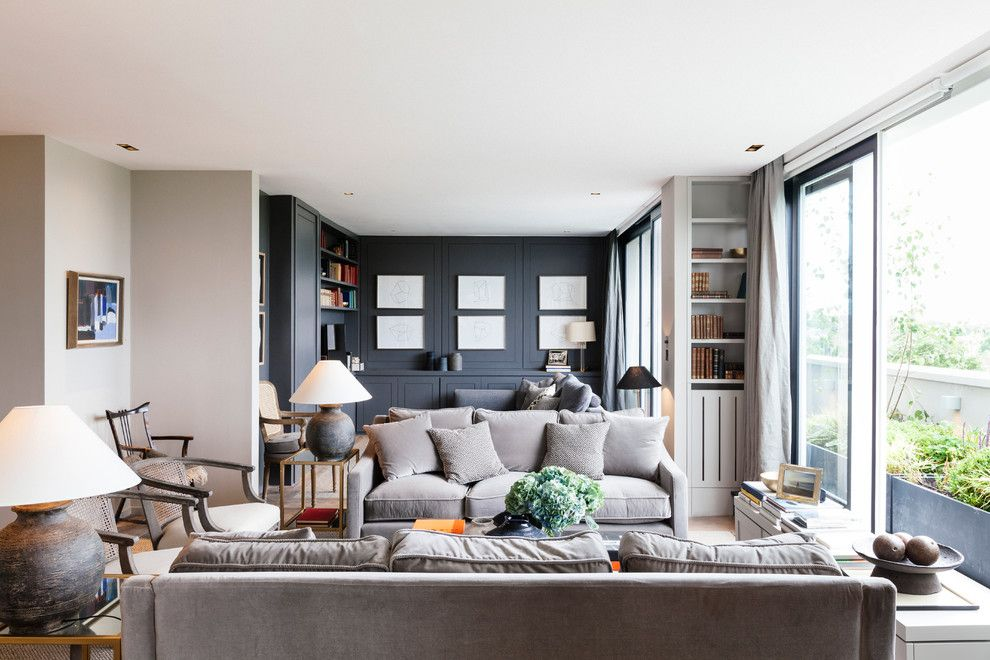 Brown Grey Paint Colors Living Room Transitional With Open Shelving Built In Gray Wal Living Room Decor Gray Grey Couch Living Room Living Room Decor Grey Sofa