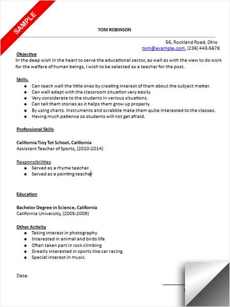 Kindergarten Teacher Resume Sample Resume Examples Pinterest - teacher assistant sample resume