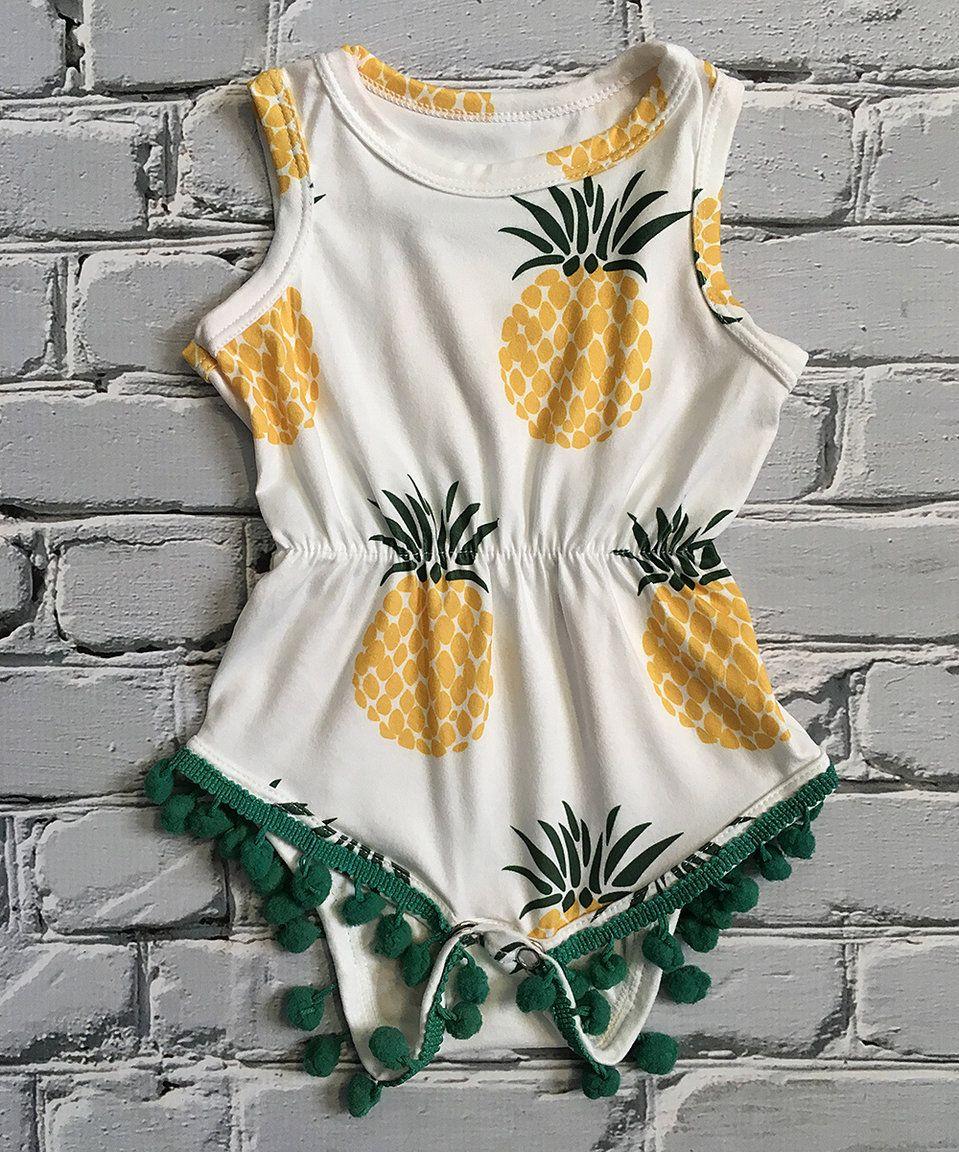 11653576d This Little Mister Hipster Yellow   Green Pineapple Pom-Pom Romper ...