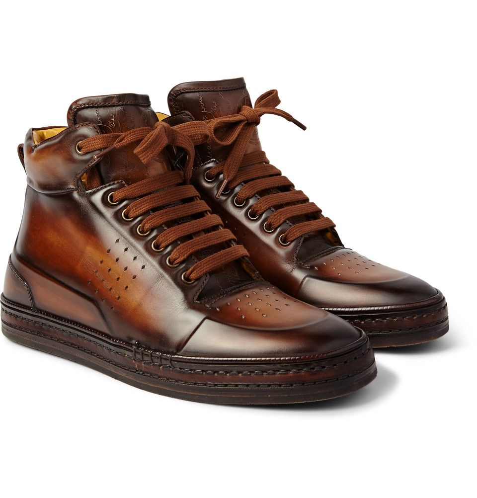 BERLUTI PLAYTIME BURNISHED-LEATHER HIGH