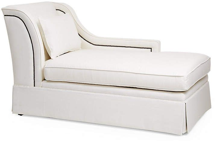 Roslin Right Facing Skirted Chaise White Linen Frame Soft