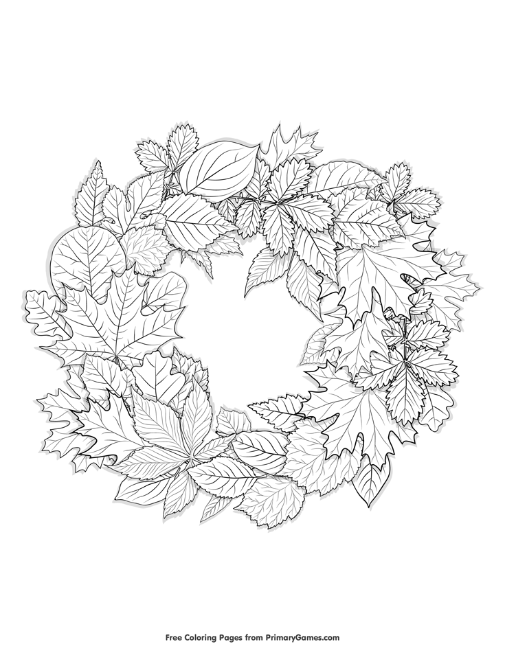 Fall Coloring Page Leaves Wreath Free Printable Pages For Use In Your Classroom Or Home From PrimaryGames