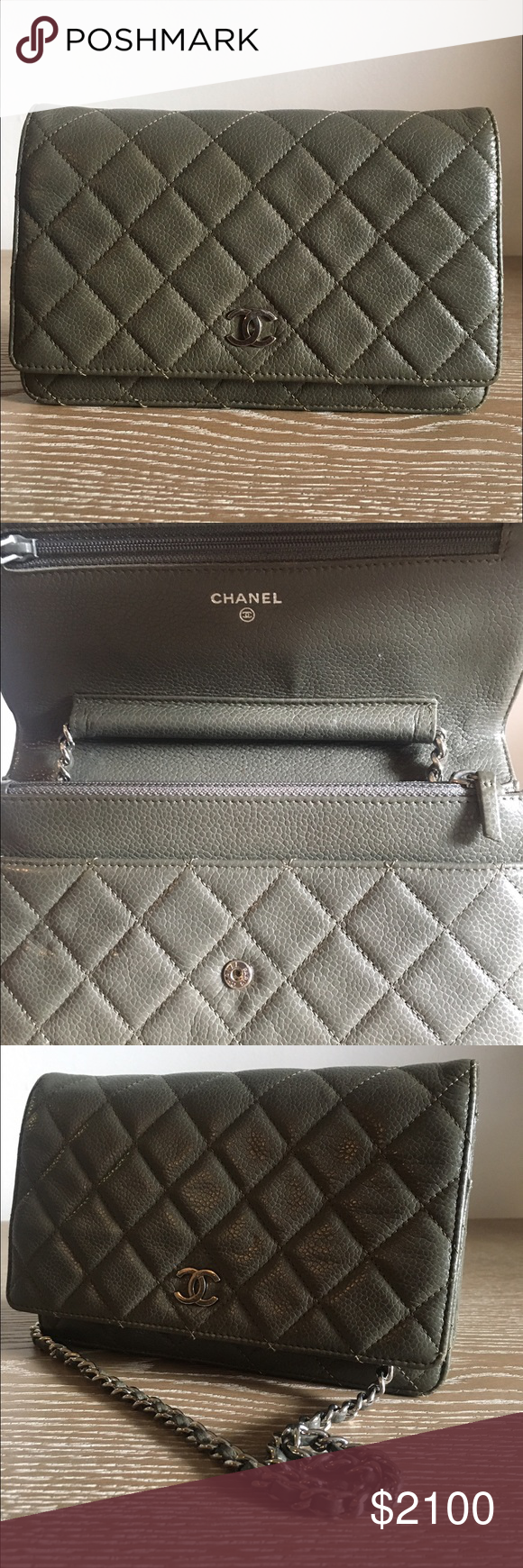 329a8491b9a0 Authentic Quilted Chanel Wallet on Chain Limited Edition Olive Green Chanel  Classic Quilted Wallet On Chain. Comes with authenticity card and silver ...