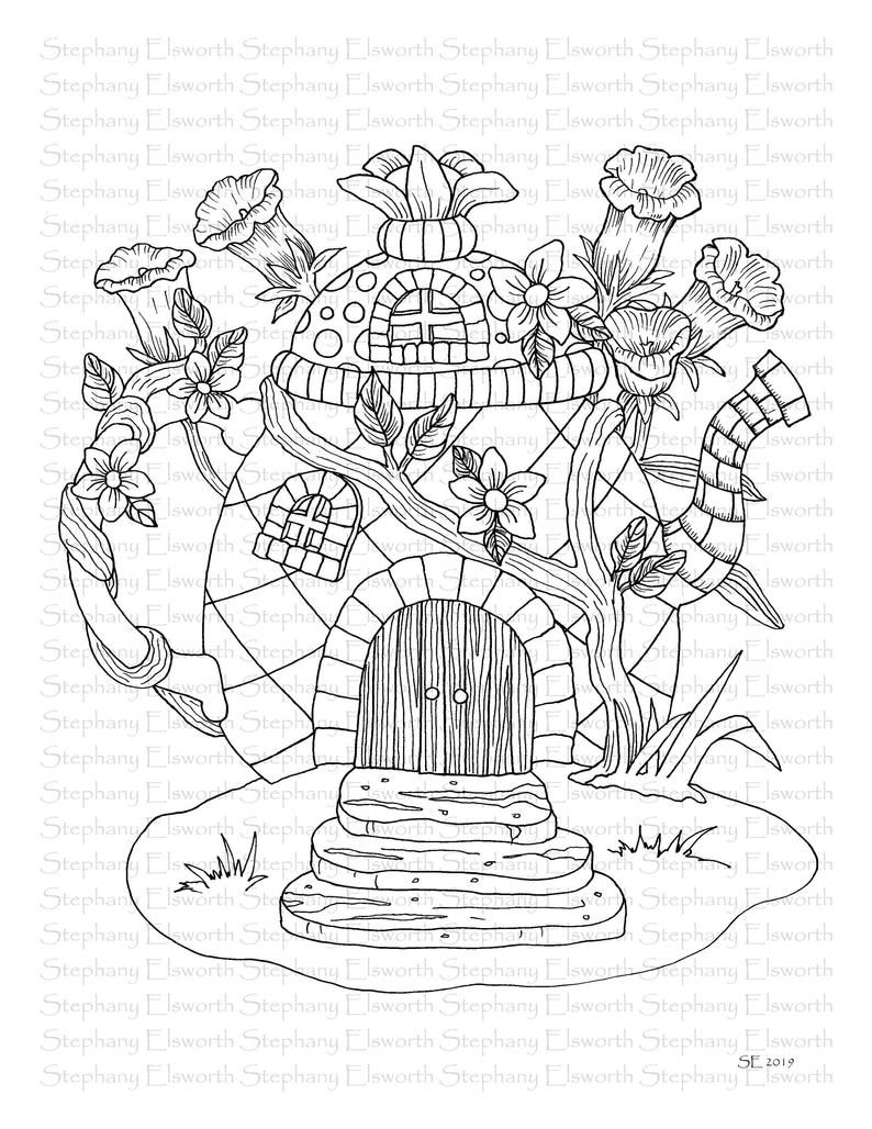 Faerie Houses II Set 4 PDF Printable Coloring Pages 1620