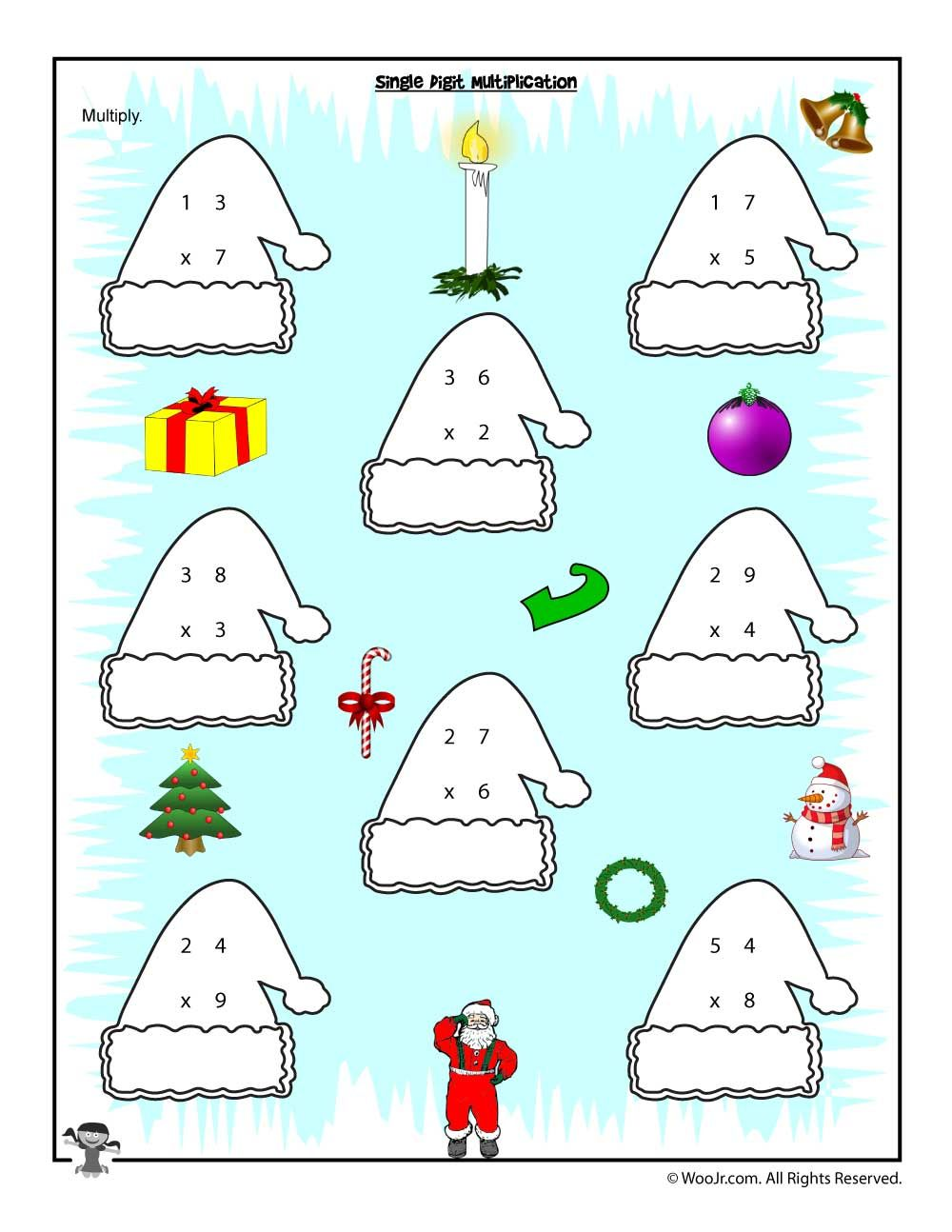Single Digit Multiplication Christmas Worksheet | Math | Pinterest ...