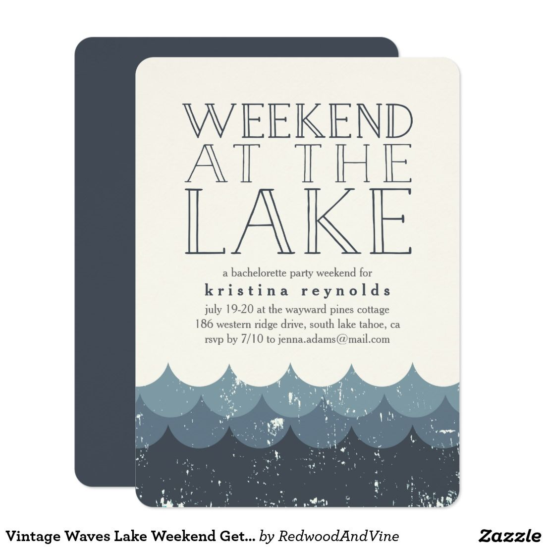 Vintage Waves Lake Weekend Getaway Invitation Bachelorette Party