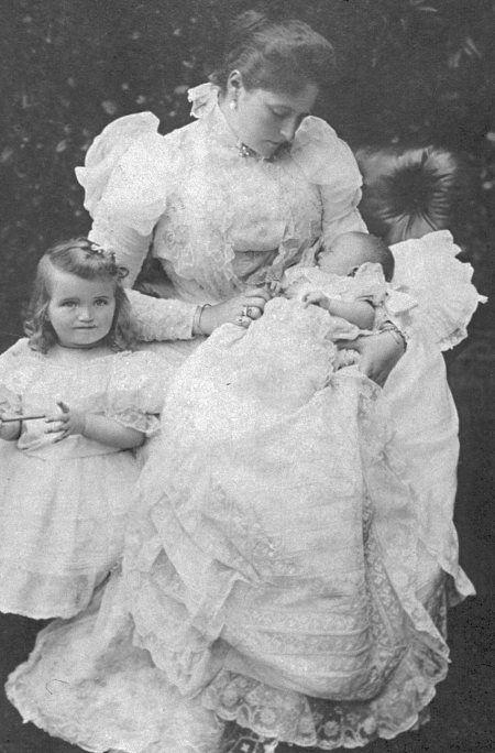 Tsarina Alexandra, Olga and the baby Tatiana, 1897.