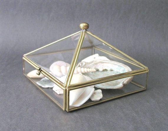 Vintage Glass Jewelry Display Box Curio Box Brass by PaisleyzPark