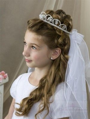 Peinados de primera comunion con diadema