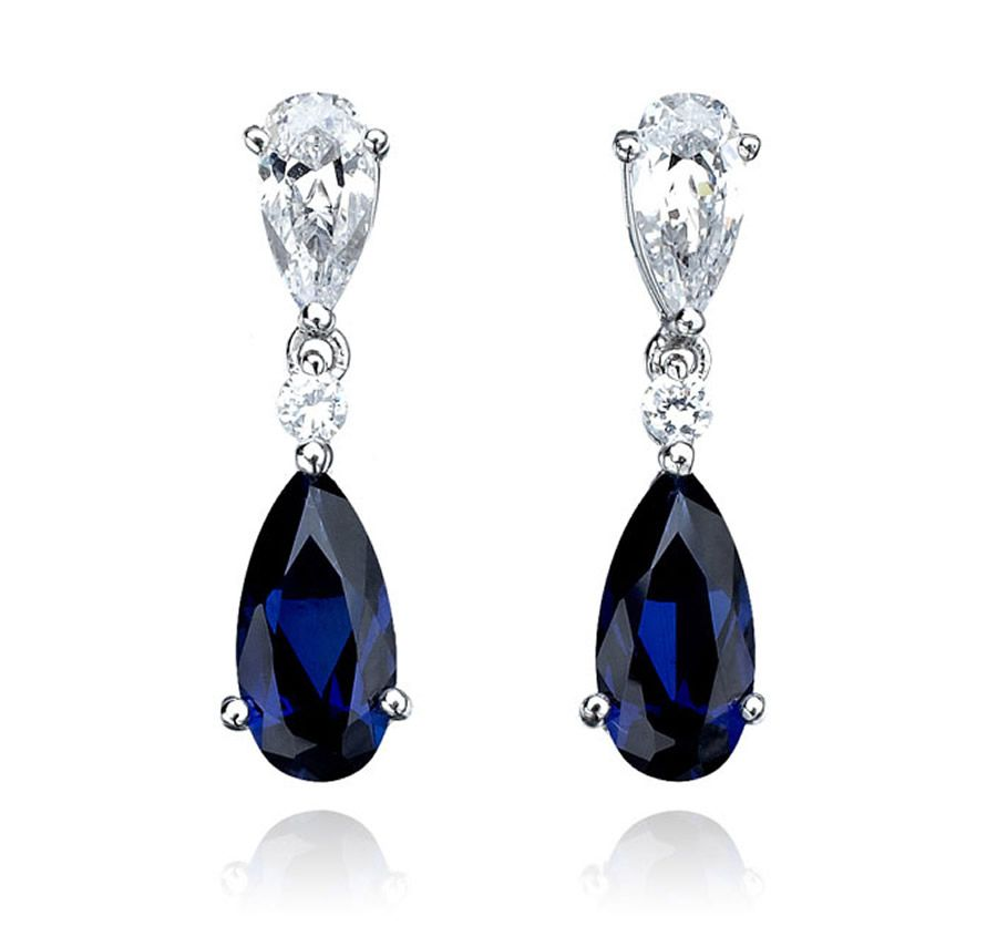 luxury elegant sumptuous sapphire jewelry design of double pear drop earrings for gift ideas by crislu