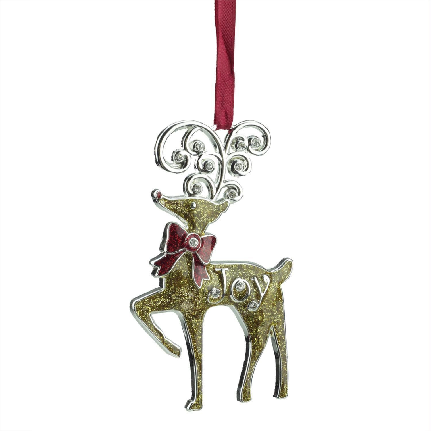 375 Regal Shiny Silver Plated Gold Glitter Joy Reindeer Ornament With