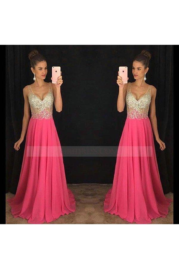 Crystal V Neck Chiffon Sweep Train Sleeveless Hot Pink A Line Prom Evening Dress Os0826