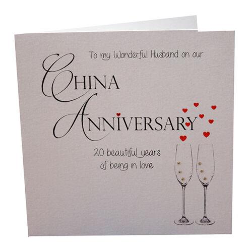20th China Anniversary Card To a Wonderful Husband Luxury