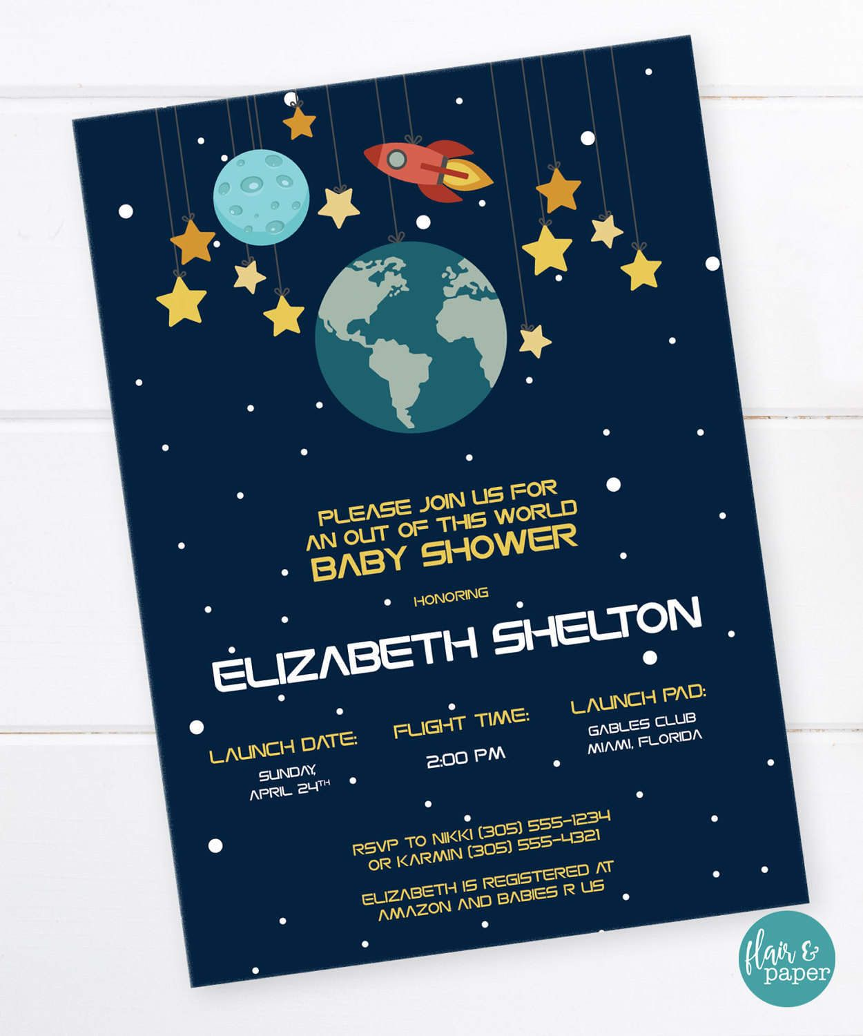 space baby shower invitation outer space shower rocket birthday space party planet