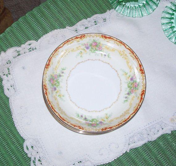 Vintage Noritake China Linden Pattern 5pc Set Soup or Salad Bowls ...