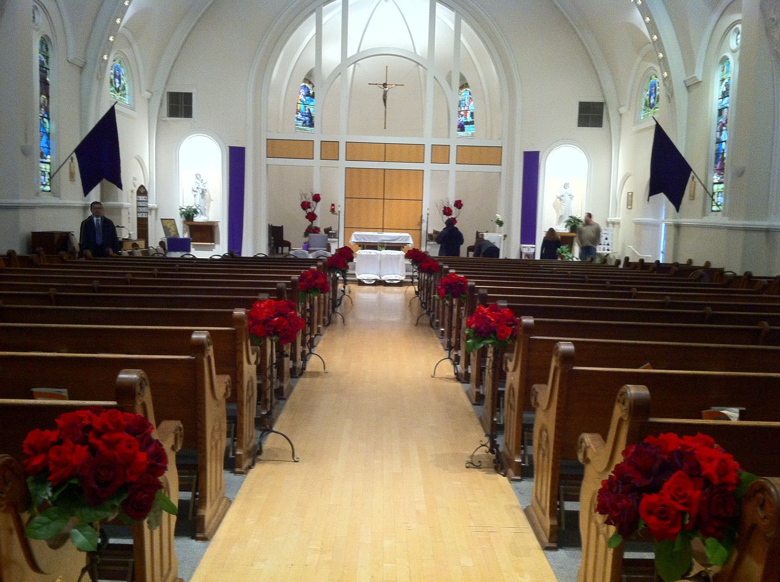 Traditional church wedding decorations red rose aisle for Church wedding decorations