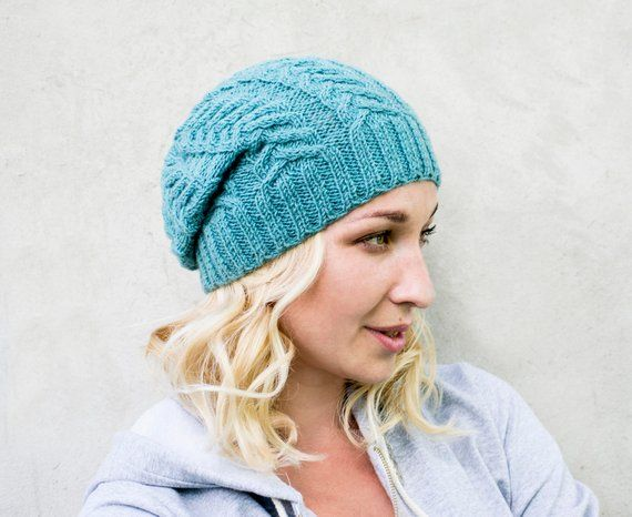 Knit slouchy beanie Cable knit hat Knitted hat for women Slouchy woolen hat  Winter cap Womens winter 3bb5d952426