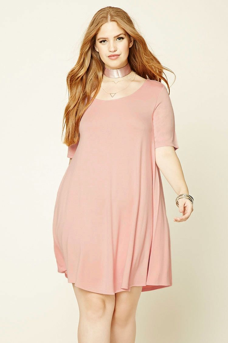 14a061141f3e Forever 21+ - A soft French terry knit T-shirt dress featuring an A-line  silhouette, a round neckline, and short sleeves.