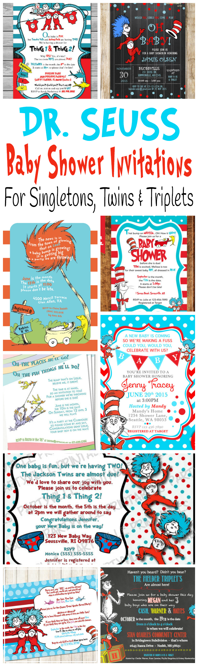 Printable Dr. Seuss Baby Shower Invitations For One Baby or Twins ...