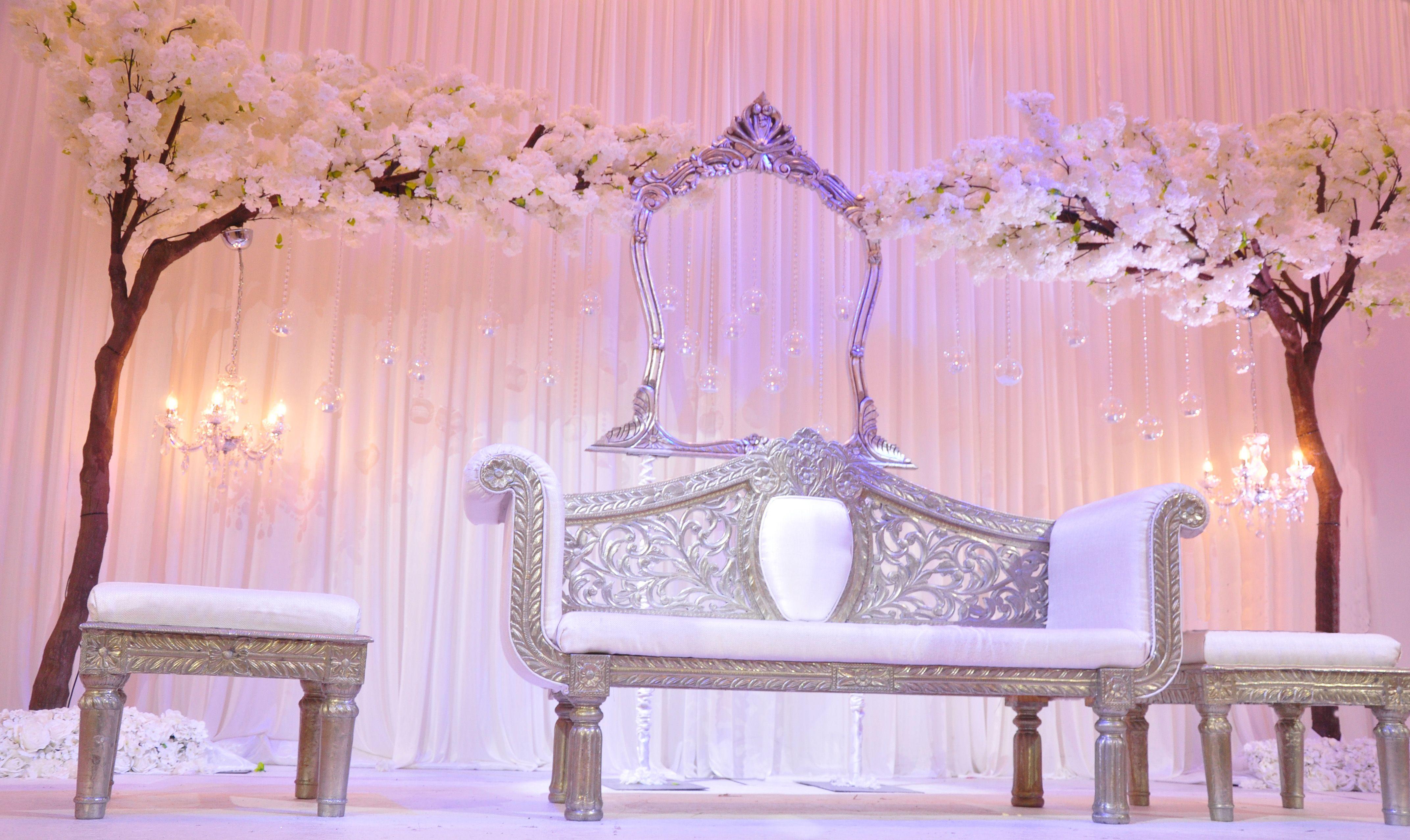 White Sakura Wedding Blossom Cherry Trees Stage By Weddingking Rotterdam Weddingstage Deco