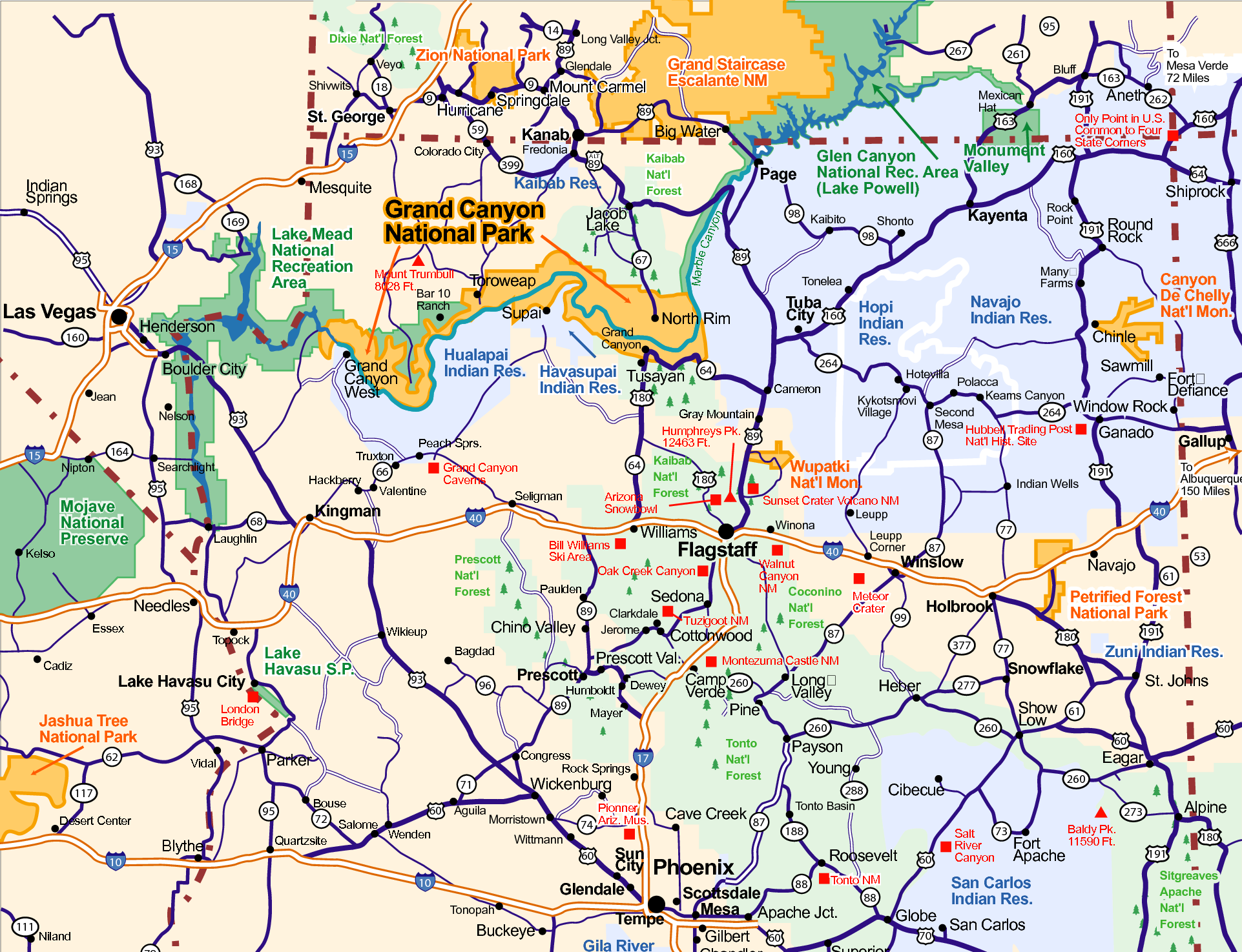 Arizona Road Map with Cities | Arizona in 2019 | Map, United ...