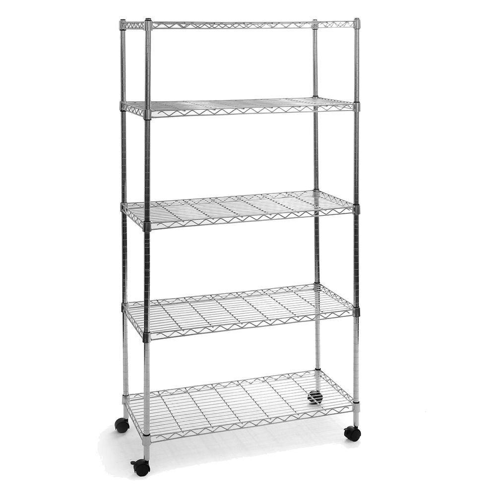 5 Shelf Office Garage Kitchen Steel Wire Storage Rack Metal Closet ...