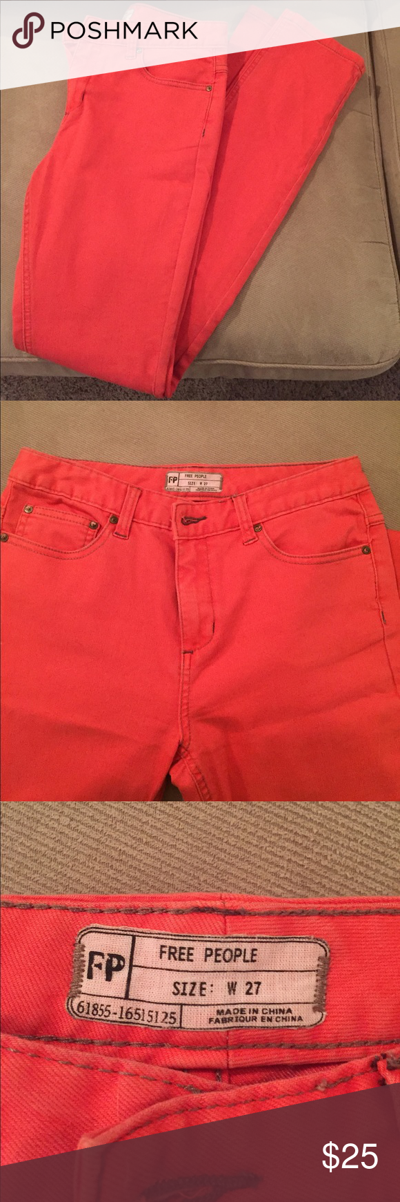 Free People Jeans Rarely worn, bright orange jeans by Free People.  Buttoned fly, front and back pockets.  Cotton, polyester, spandex blend. Free People Jeans Straight Leg