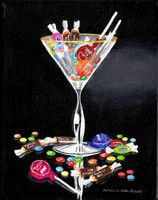 Original Acrylic Art - Martini Glass, Candy, Tootsie Pop - by Patricia Ann Rizzo