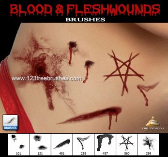 Blood and Flesh Wounds | Blood Splatter | Photoshop brushes, Cool