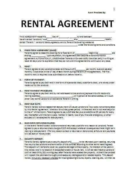10+ Rental Agreement Templates Printable Word  PDF Formats