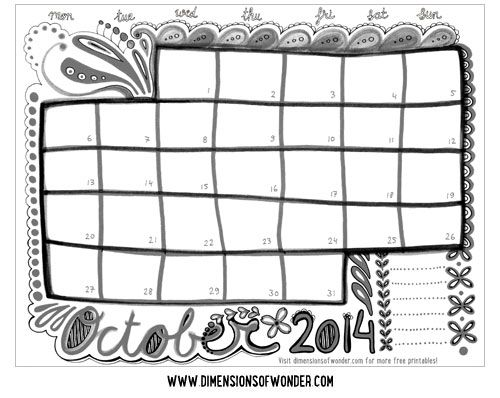 Free Printable Monthly Calendar October 2014 {Hand Drawn