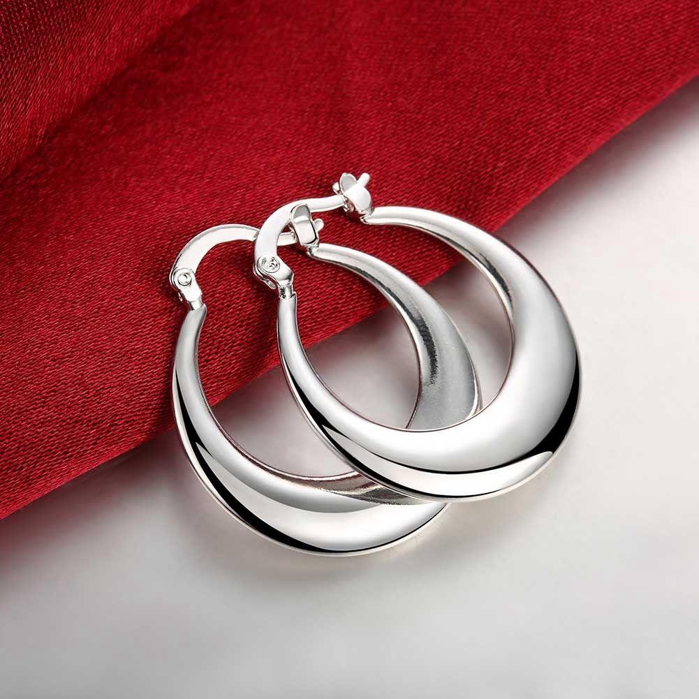 Vintage Women/'s 925 Sterling Silver Filled Moon Shape Hoop Earrings