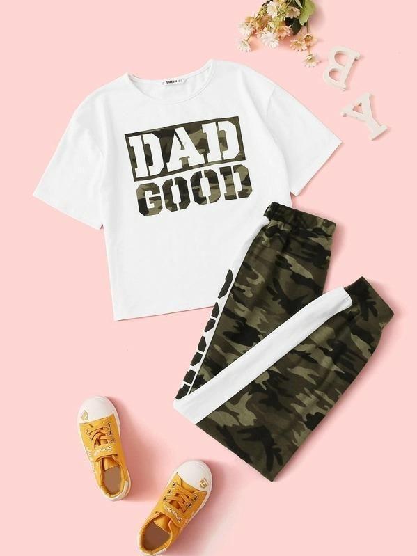 14 Girls Camo & Slogan Print Tee And Contrast Sideseam Sweatpants Set   8Y