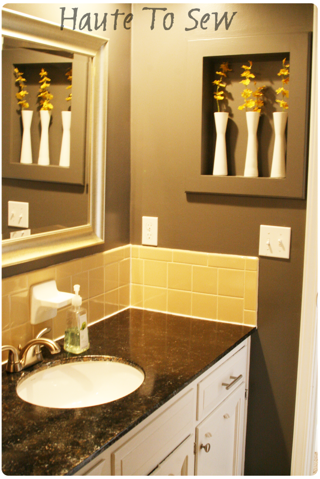 Yellow & Gray Color Scheme - I can't tell if that's a duller yellow than  our bathroom or if the neutral colors just make it appear that way.
