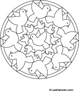 Printable Birds Mandala Coloring Sheet Leehansen Com Clip