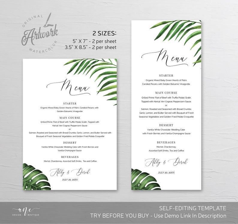 Tropical Greenery Wedding Menu Card Template Beach Dinner Etsy In 2020 Wedding Menu Cards Menu Cards Menu Card Template