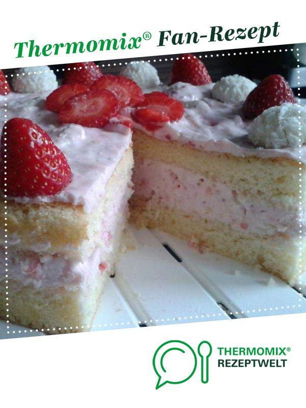 Erdbeer-Raffaello-Torte von Regina81. Ein Thermomix Rezept aus der Kategorie Backen süß auf www.rezeptwelt.de, der Thermomix Community.