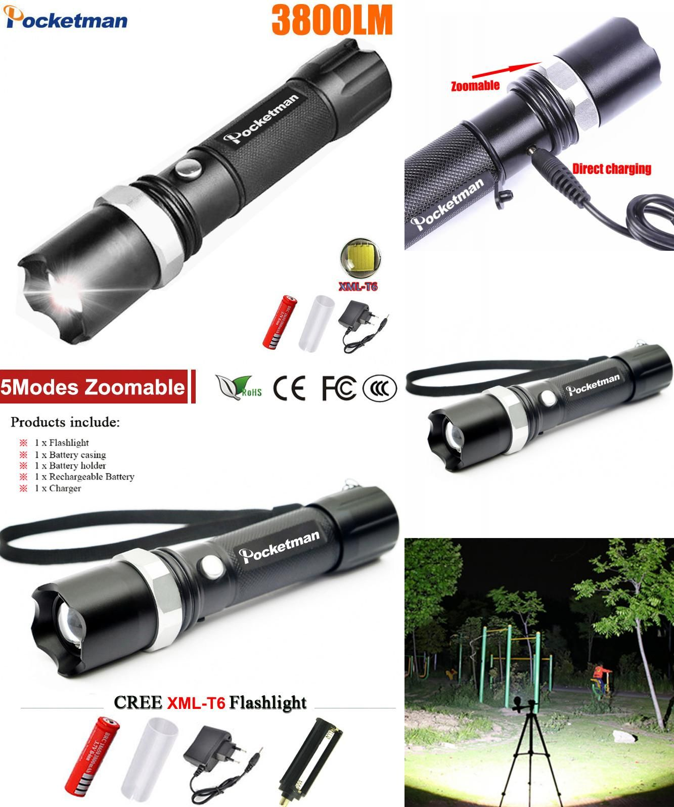 Visit To Buy Usa Ft17 Xm L T6 3800lm Tactical Cree Led Torch Zoomable Cree Led Flashlight Torch Light For Aaa Or 1xrechargeab Cree Led Torch Light Flashlight