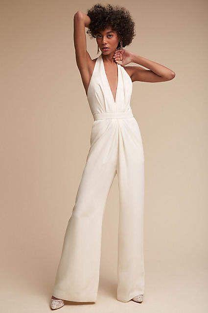 fb3e4be1358 Anthropologie Mara White Jumpsuit Romper Wedding Dress Bridal Gown  Alternative - Bridal Shower